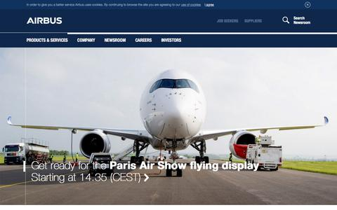 Screenshot of Home Page airbus.com - Home - captured June 19, 2017