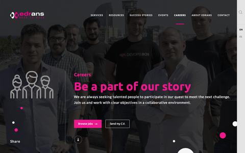 Screenshot of Jobs Page edrans.com - Be a part of our story | edrans - captured Nov. 4, 2018