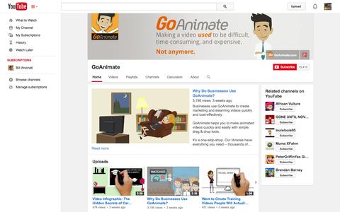 Screenshot of YouTube Page youtube.com - GoAnimate  - YouTube - captured Dec. 17, 2014