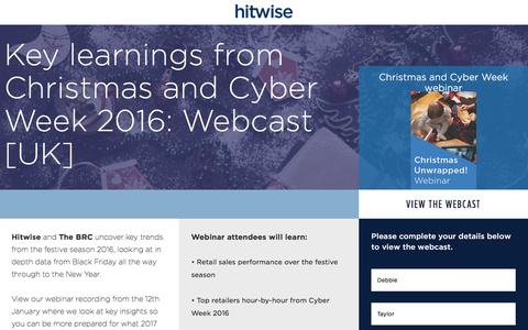 Screenshot of Landing Page connexity.com - Hitwise | Christmas Planning Webcast - captured Feb. 10, 2017