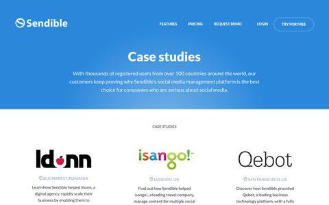 Screenshot of Case Studies Page sendible.com - Case Studies | Sendible - captured June 20, 2017