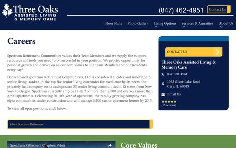 Screenshot of Jobs Page spectrumretirement.com - Careers At Three Oaks Assisted Living & Memory Care - captured Jan. 23, 2017