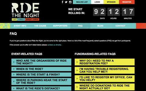 Screenshot of FAQ Page ridethenight.org.au - FAQ - Ride the Night - captured Oct. 31, 2014