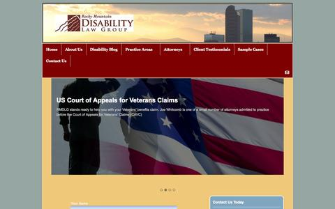 Screenshot of Home Page rmdlg.com - Disability Law Group | Colorado Attorneys | Veterans Benefits Lawyers - captured Oct. 7, 2014