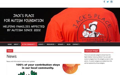 Screenshot of Press Page jacksplaceforautism.org - News Archives - JACKS PLACE for Autism Foundation - captured Nov. 16, 2016