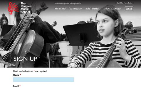 Screenshot of Signup Page peoplesmusicschool.org - Sign Up - The People's Music School - captured Oct. 19, 2018