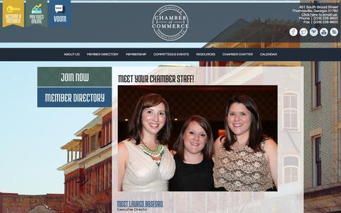 Screenshot of About Page thomasvillechamber.com - Thomasville-Thomas County Chamber of Commerce | About Us - captured June 24, 2016