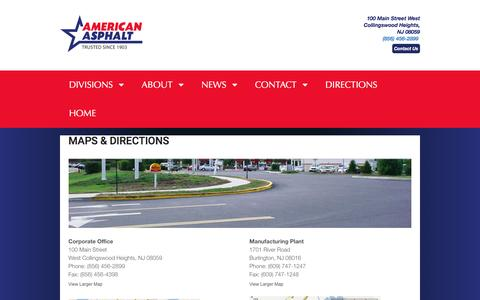 Screenshot of Maps & Directions Page americanasphaltcompany.com - Maps & Directions - American Asphalt Company - captured May 30, 2017