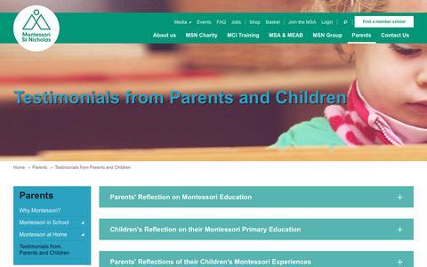 Screenshot of Testimonials Page montessori.org.uk - Testimonials from Parents and Children - captured Nov. 16, 2017