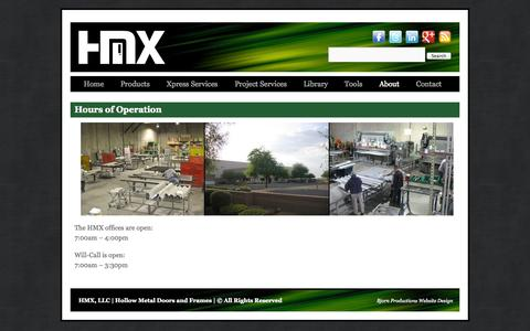 Screenshot of Hours Page hmxpress.com - Hours of Operation - HMX, LLC | Hollow Metal Doors and FramesHMX, LLC | Hollow Metal Doors and Frames - captured Oct. 27, 2014