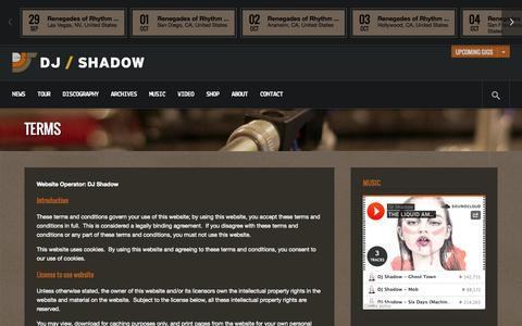 Screenshot of Terms Page djshadow.com - Terms | DJ Shadow - captured Sept. 30, 2014