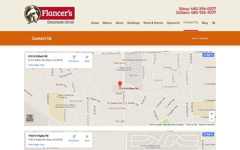 Screenshot of Contact Page Locations Page flancers.com - Contact Us - Flancer's | Flancer's Restaurant in Gilbert & Mesa AZ - captured Jan. 8, 2016