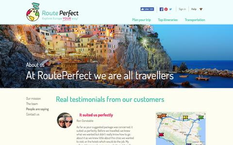 Screenshot of Testimonials Page routeperfect.com - Testimonials - RoutePerfect - Europe trip planning tool - captured June 19, 2017