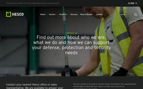 Screenshot of Contact Page hesco.com - Contact - captured Jan. 22, 2016