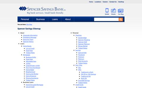 Screenshot of Site Map Page spencersavings.com - Site Map: Spencer Savings Bank of New Jersey - captured Oct. 6, 2014