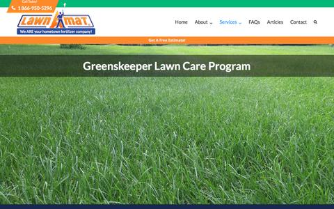 Screenshot of Services Page lawnamat.net - The Greenskeeper Lawn and Grass Care Program - Lawn-A-Mat Lawn Care - captured May 15, 2017