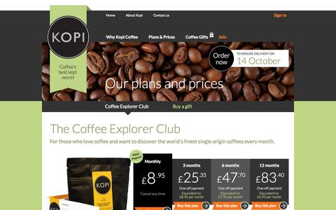 Screenshot of Signup Page kopi.co.uk - Subscription Coffee Experience from Kopi.co.uk - captured Sept. 16, 2014