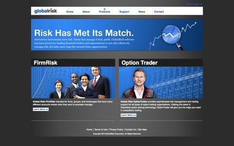 Screenshot of Products Page globalrisk.com - Global Risk - captured Oct. 8, 2014