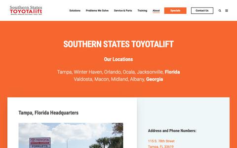 Screenshot of Contact Page Locations Page sstlift.com - Florida and Georgia Locations - captured Nov. 14, 2018