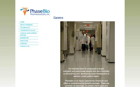 Screenshot of Jobs Page phasebio.com - CAREERS » - captured July 18, 2014