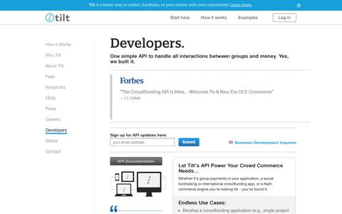 Screenshot of Developers Page crowdtilt.com - Developers and Crowdfunding API - Tilt - captured Sept. 13, 2014