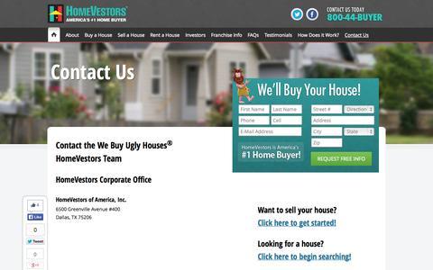 Screenshot of Contact Page homevestors.com - Contact Us | We Buy Ugly Houses | HomeVestors - captured Sept. 19, 2014