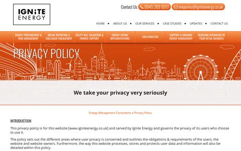 Screenshot of Privacy Page igniteenergy.co.uk - Privacy Policy - captured Oct. 1, 2018