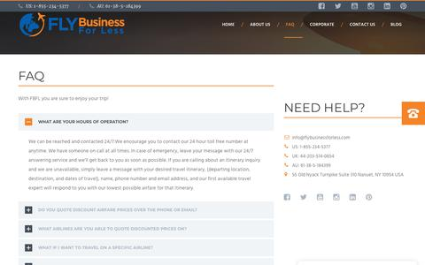 Screenshot of FAQ Page flybusinessforless.com - FAQ – Fly Business For Less - captured Nov. 6, 2018