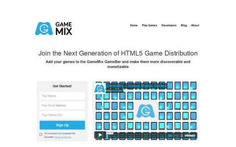 Screenshot of Developers Page gamemix.com - GameMix - captured July 19, 2014