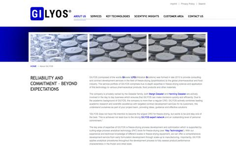 Screenshot of About Page gilyos.com - GILYOS GmbH - contract service provider in the field of freeze-drying - captured Sept. 25, 2018