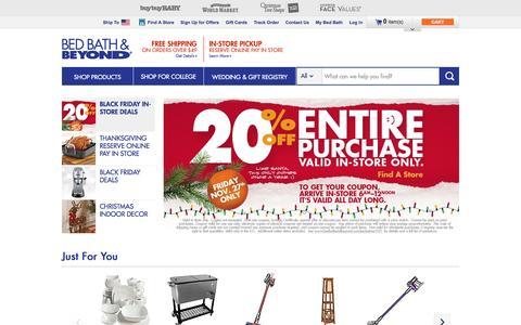 Screenshot of Home Page bedbathandbeyond.com - Bedding, Bath Towels, Cookware, Fine China, Bridal & Gift Registry  - BedBathandBeyond.com - captured Nov. 25, 2015