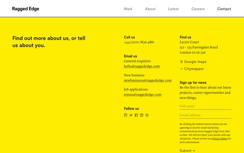Screenshot of Contact Page raggededge.com - Contact – Ragged Edge – London branding agency - captured Sept. 12, 2019