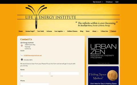 Screenshot of Contact Page lifeenergyinstitute.net - Contact Us - Life Energy Institute - captured Jan. 14, 2017
