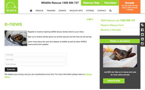 Screenshot of Signup Page wires.org.au - Sign up for our free newsletter to get wildlife rescue stories - captured Oct. 20, 2018