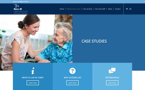 Screenshot of Case Studies Page nessmcareservices.co.uk - Case studies - Ness M Care Services - captured June 12, 2017