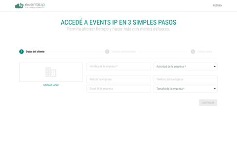 Screenshot of Signup Page Demo Page eventsip.com - Events IP - The intelligent Platform - captured Dec. 27, 2016
