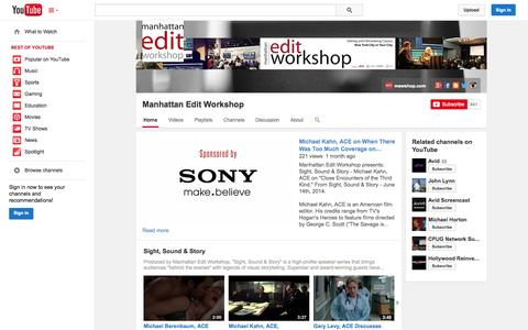 Screenshot of YouTube Page youtube.com - Manhattan Edit Workshop  - YouTube - captured Oct. 23, 2014
