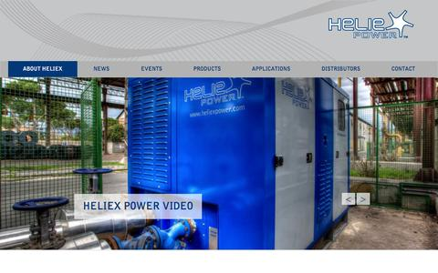 Screenshot of Home Page Menu Page heliexpower.com - Heliex Power » Waste heat to energy - captured Oct. 2, 2014