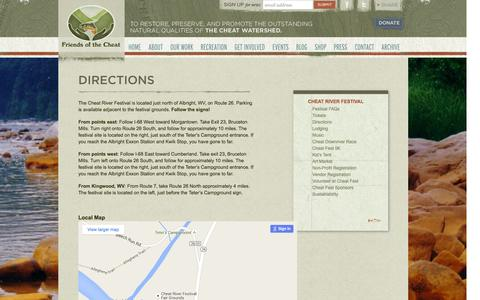 Screenshot of Maps & Directions Page cheat.org - Directions | Friends of the Cheat - captured Feb. 10, 2016