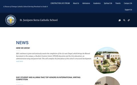 Screenshot of Press Page serraschool.org - News - Serra Catholic School - captured Oct. 27, 2017