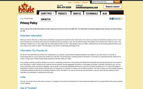 Screenshot of Privacy Page houlegames.com - Privacy Policy - captured Oct. 3, 2014