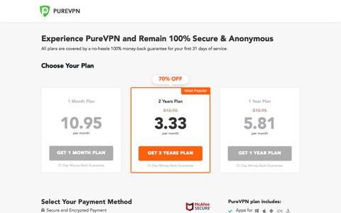 Screenshot of Pricing Page purevpn.com - Buy VPN at an Amazing Discount! Pay with Paypal and Credit Card - captured Oct. 20, 2019