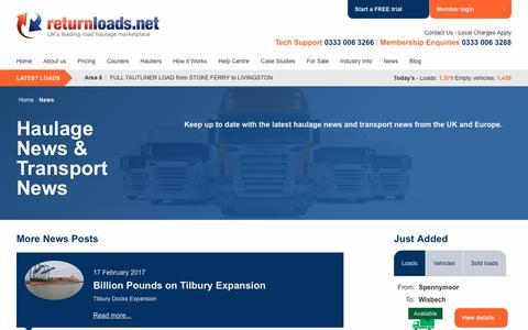 Screenshot of Press Page returnloads.net - Haulage News | Transport News | Road News - Return Loads - captured Feb. 27, 2017