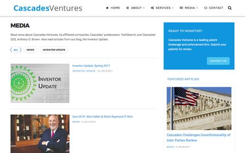 Screenshot of Press Page cascadesventures.com - Media | Cascades Ventures - Patent Brokerage & Enforcement - captured May 15, 2017