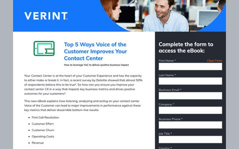Screenshot of Landing Page verint.com - Verint | Top 5 Ways Voice of Customer Improves Your Contact Center - captured Nov. 26, 2018