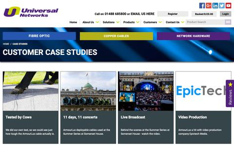 Screenshot of Case Studies Page universalnetworks.co.uk - Case Studies - captured Oct. 19, 2018