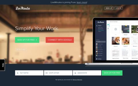 Screenshot of Signup Page liveminutes.com - LiveMinutes - captured Oct. 25, 2015