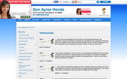 Screenshot of Testimonials Page donayreshonda.net - Don Ayres Honda Serving Fort Wayne, IN, New, Used Cars - Testimonials - captured Oct. 5, 2014