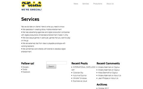Screenshot of Services Page swecial.com - Services - SWECIAL - captured Sept. 21, 2018