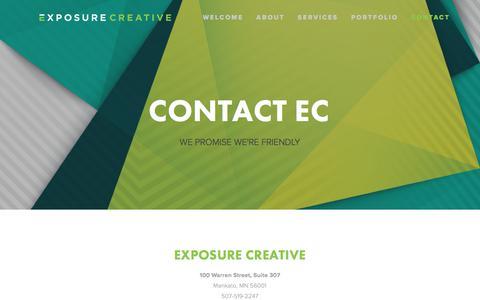Screenshot of Locations Page exposurecreative.co - Contact EC — Exposure Creative - captured Sept. 17, 2017